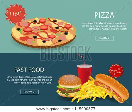 Fast Food Banner Set. Website Header
