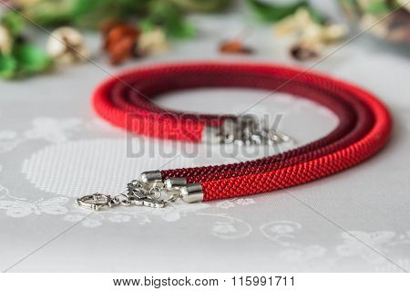 Beaded Necklace Of Red Color From Three Ropes