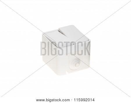 White plastic light switch.
