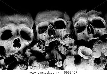 Skull Of Cemetery In Naples - Italy