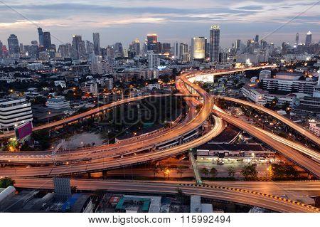 Bangkok, Thailand - Jan 16, 2016 : Bangkok Skyline With City Before Sunset Bangkok, Thailand