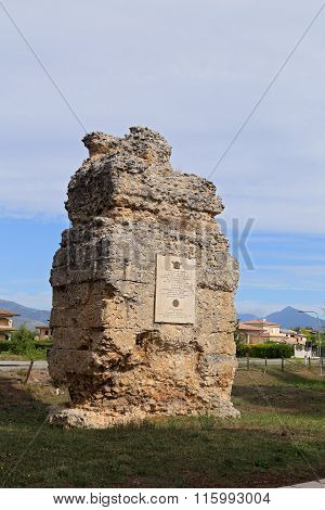 CORFINIO ITALY - SEPTEMBER 062015: Roman graves near the Basilica of S.Pelino. The ancient Corfinium conserves large tracts of the ancient city: the theater the amphitheater and the baths. L'Aquila in the region of Abruzzo - Italy
