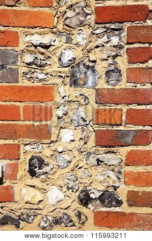Brick and flint wall detail.