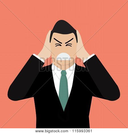 Businessman Covering His Ears With His Hands