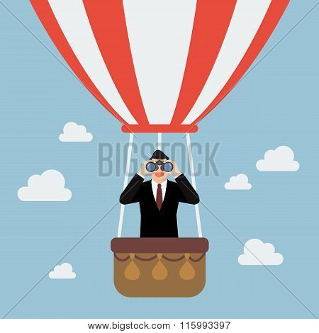 Businessman Use Binoculars Looking For Business On Hot Air Balloon