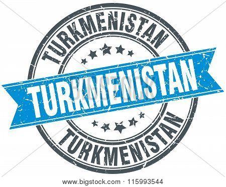 Turkmenistan blue round grunge vintage ribbon stamp