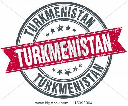 Turkmenistan red round grunge vintage ribbon stamp
