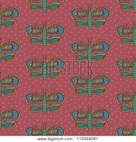 Cute butterfly with colorful desaturated ornament seamless pattern on a pink background