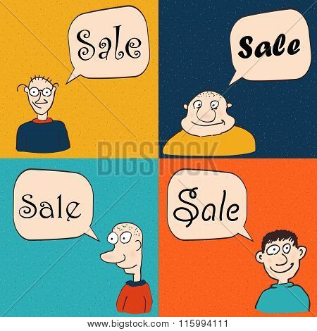 Men with speech bubbles. Sale and promotion
