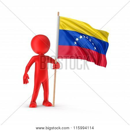 Man and Venezuelan Flag. Image with clipping path.