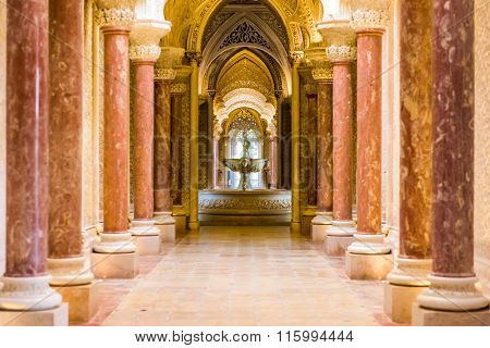 SINTRA, PORTUGAL - OCTOBER 19, 2014: Monserrate Palace interior in Sintra. The palace was completed in 1858 for Sir Francis cook.