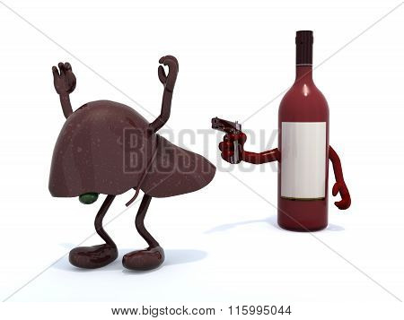 Wine Bottle With Arms Wielding Gun To The Human Live