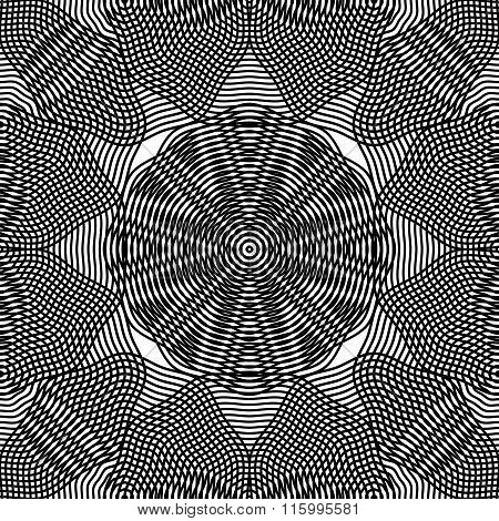 Black And White Illusive Abstract Seamless Pattern With Overlapping Shapes. Vector Backdrop