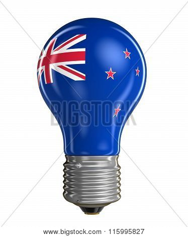 Light bulb with New Zealand flag.  Image with clipping path