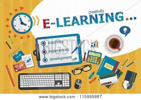Online E-learning Design Concept. Typographic Poster.