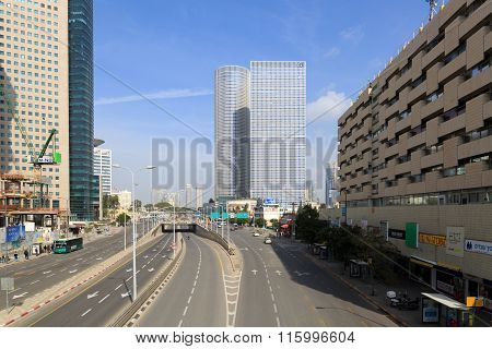Tel-aviv, Israel - January 22, 2016: Street Menachem Begin 116