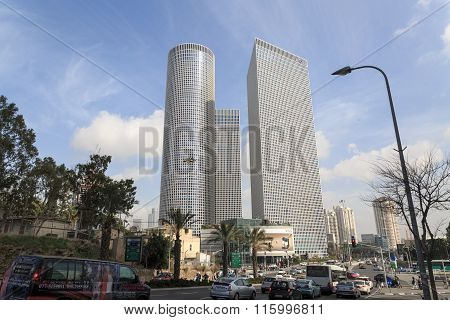 Tel-aviv, Israel - January 22, 2016: Traffic Near Azrieli Center