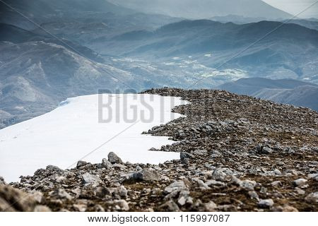 Mountain Half Snow Half Rocks