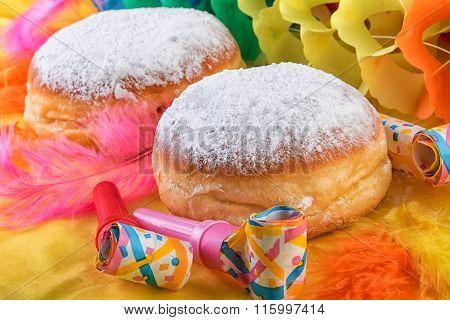 Berliner Doughnut or Krapfen with Festive Decoration