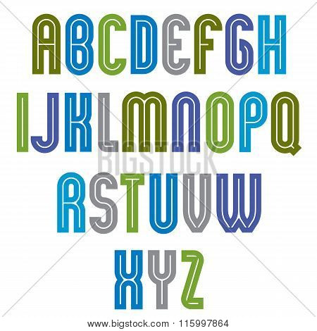 Striped Font, Geometric Bright Typeface With Parallel Lines. Colorful Rounded Regular Uppercase Lett