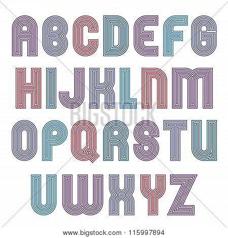 Stripy Bright Geometric Script, Stylish Typeface Created From Parallel Lines. Unusual Vector Upperca