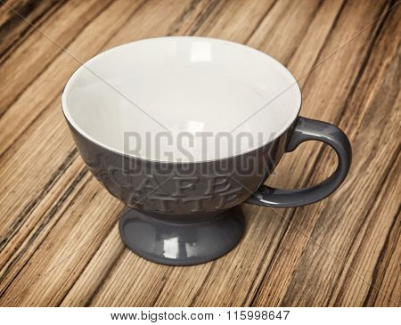Grey Cup With Handle For Coffee Latte