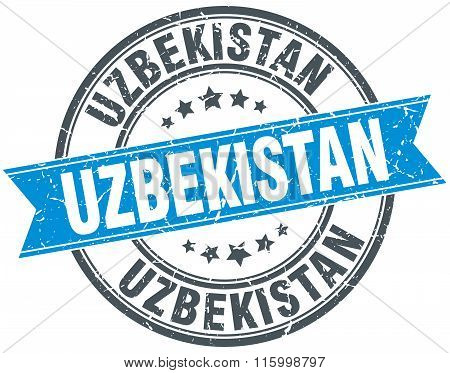 Uzbekistan blue round grunge vintage ribbon stamp
