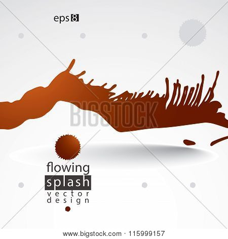 Splattered Web Design Element, Art Ink Blob, Bright Paintbrush Drawing. Smudge Background.