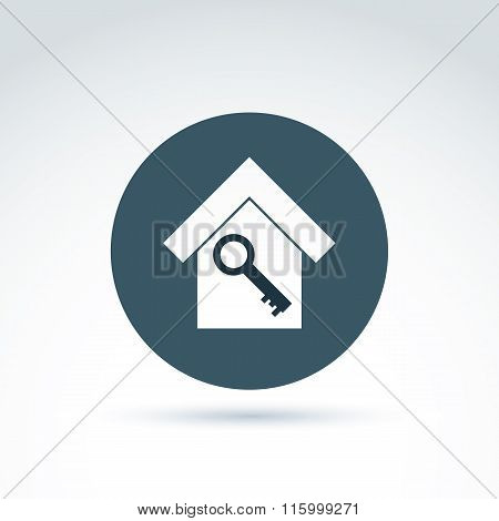 Key and house classic icon, apartment and home security and protection theme, vector