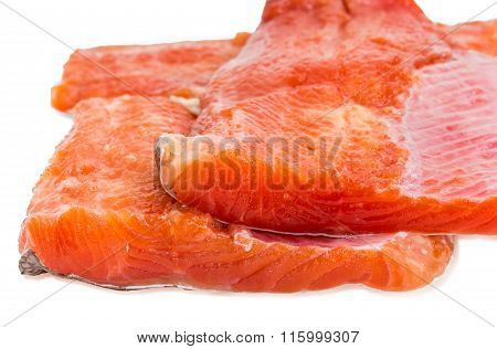 Uncooked Fillet Of Rainbow Trout Closeup