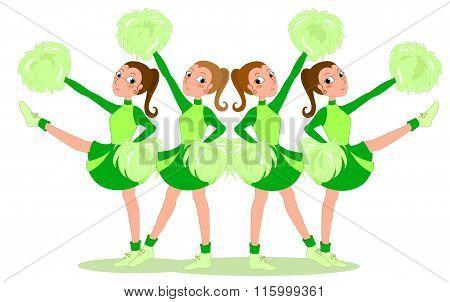 Cheerleaders in green - vector