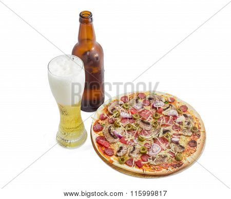 Pizza With Sausage And Lager Beer On A Light Background