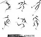 Постер, плакат: Vector hand drawn throwing athletes