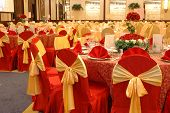 stock photo of wedding table decor  - table setting and decoration in a wedding banquet - JPG