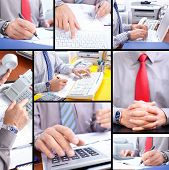 picture of people work  - Business people working with documents and calculator - JPG