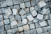 Постер, плакат: Road Pavement Stone Blocks And Construction Tools Construction Worker Laying Cobblestone Pavement