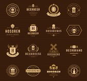 Vintage Beer Logos Set. Vector design elements poster