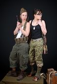 Two Sexy Women Posing In Ww2 Military Uniform And Weapons poster