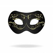 pic of masquerade mask  - Illustration of realistic carnival or theater mask isolated on white background  - JPG