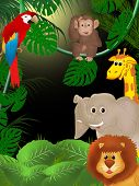 pic of jungle  - Illustration of jungle with cute smiling animals among green plants - JPG