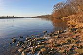 picture of ogre  - quiet cove and autumn colors of the daugava river near ogre  - JPG