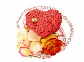 Valentine'S Day Card - Red Heart End Roses - Jewelry Embellishme poster