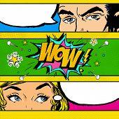 Pop Art comic dialog. Pop Art couple. Pop Art Love. Advertising poster. poster