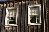 picture of brothel  - the view of an old rustic western brothel window - JPG