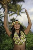 stock photo of hula dancer  - portrait of a hawaiian hula dancer in a hawaii garden - JPG