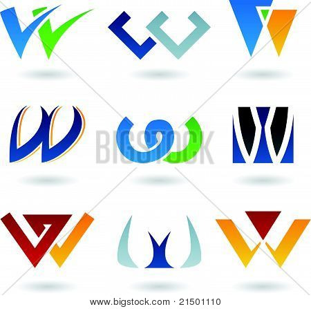 Abstract Icons For Letter W
