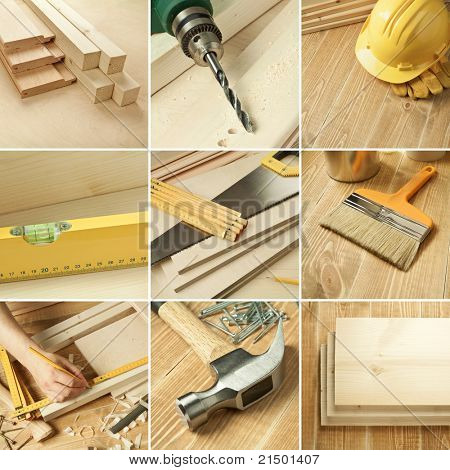 Carpentry tools, wood planks collage