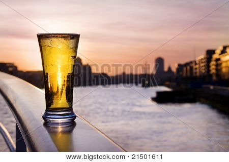 Pint Of Beer - Over Dublin Skyline