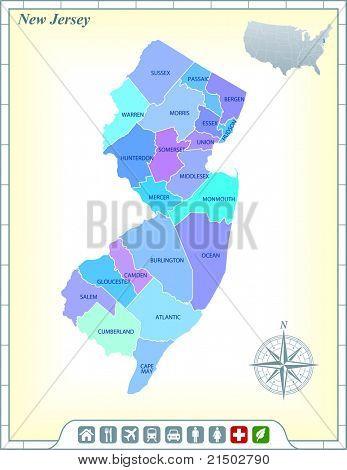 Mapa do estado com a ajuda da Comunidade de Nova Jersey e ativa a ilustração Original de ícones