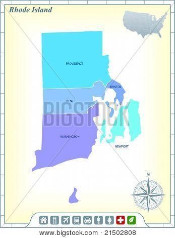 Estado de la isla de Rhode mapa con ayuda de la comunidad y activa los iconos ilustración Original